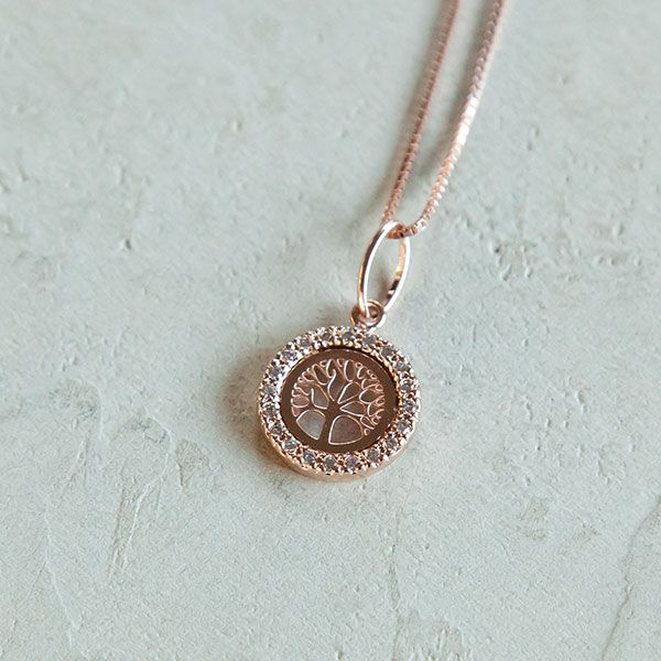 Colar de Prata 925 Árvore da Vida Cravejada Ouro Rose