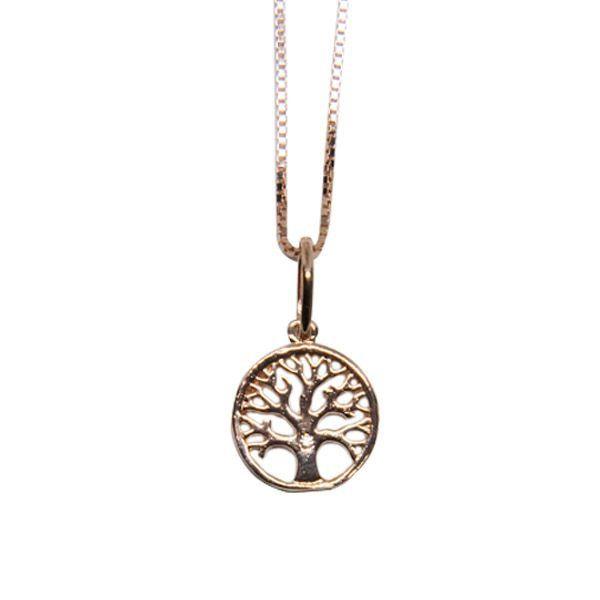 Colar de Prata 925 Árvore da Vida Ouro Rose
