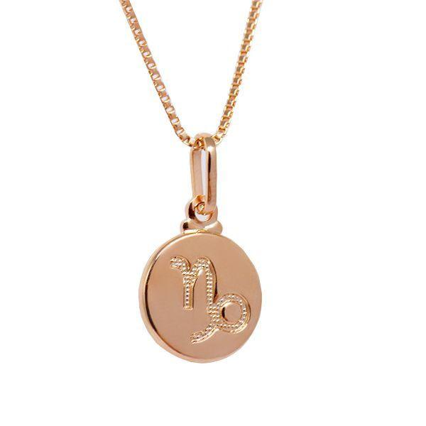 Colar de Prata 925 Signo Capricórnio Banho em Ouro Rose