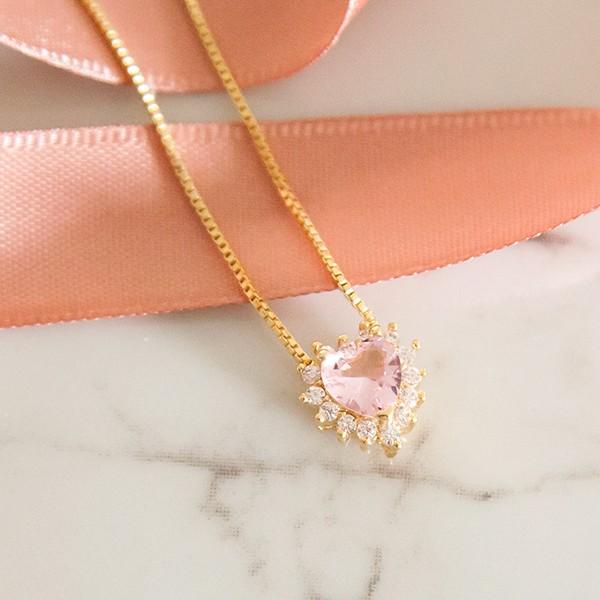 Colar Coração Quartzo Rosa Banho Ouro 18k