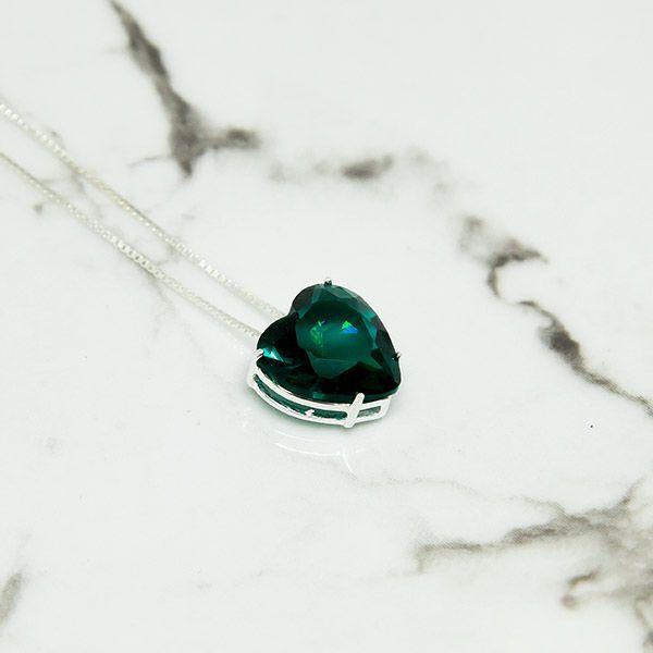 Colar Prata 925 Coração Verde