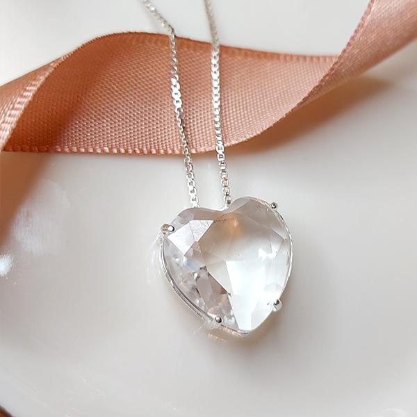Colar de Prata 925 Coração Cristal