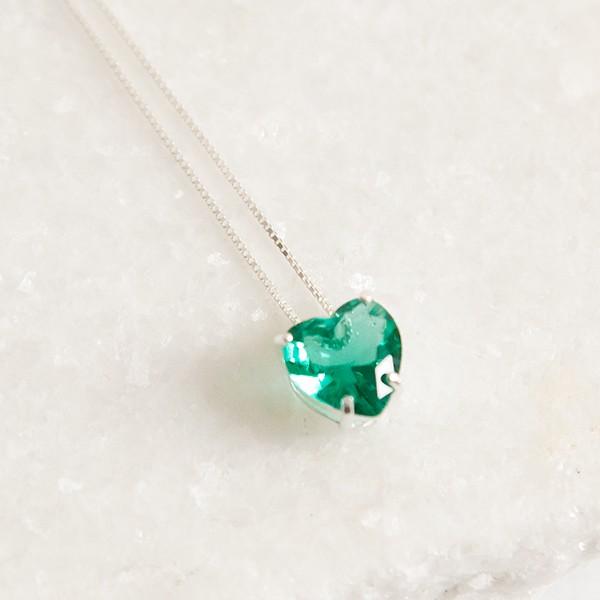Colar de Prata 925 Coração Jade Verde