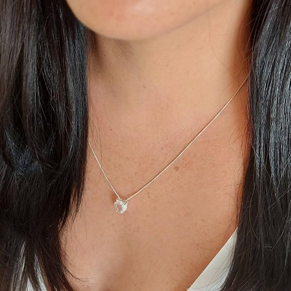 Colar de Prata 925 Coração Pequeno Cristal