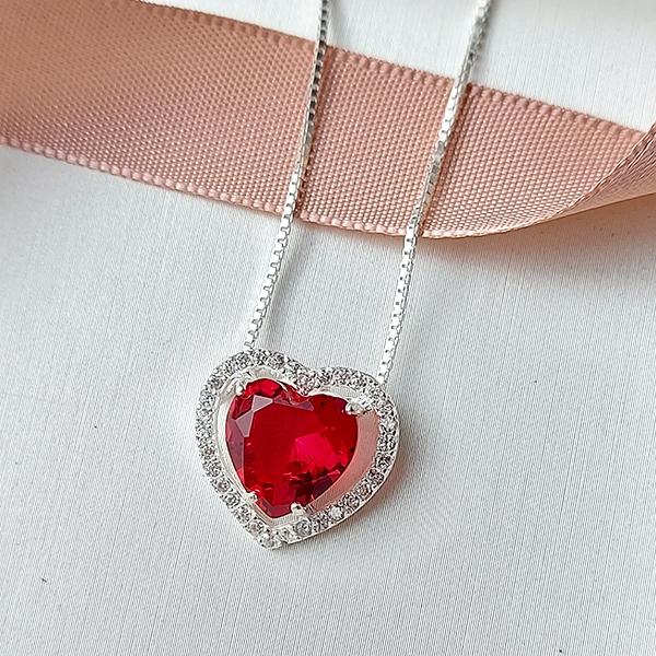 Colar de Prata 925 Coração Pequeno Rubi