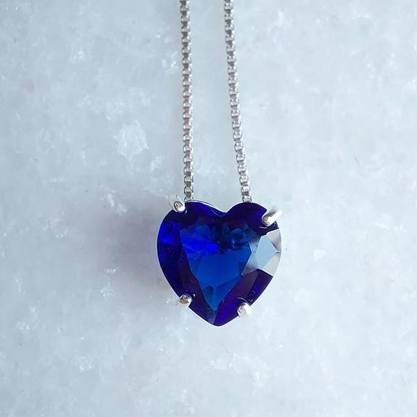 Colar de Prata 925 Coração Pequeno Safira
