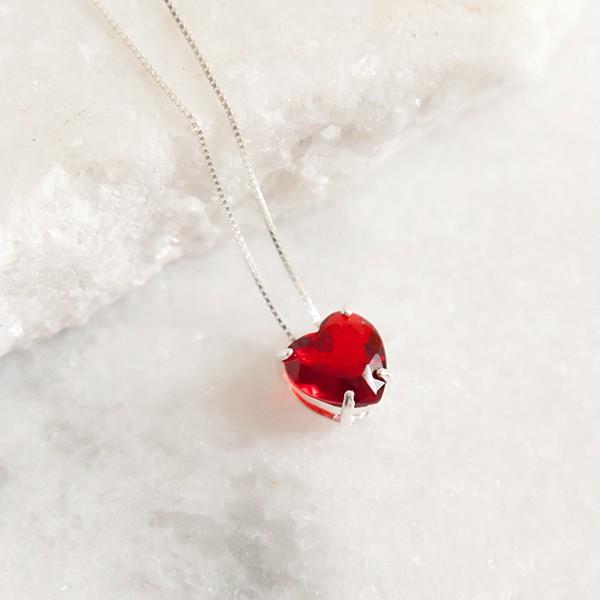 Colar de Prata 925 Coração Rubi