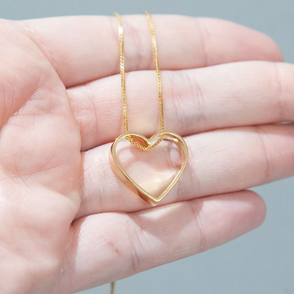 Colar de Prata 925 Coração Vazado M Banho Ouro 18K