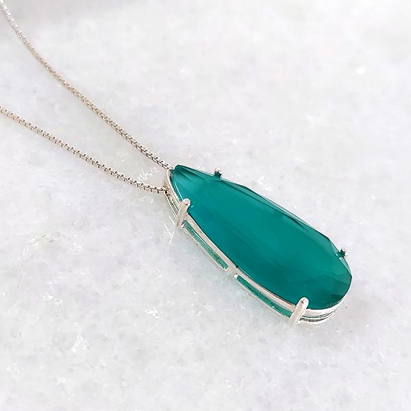 Colar de Prata 925 Gota Jade Verde