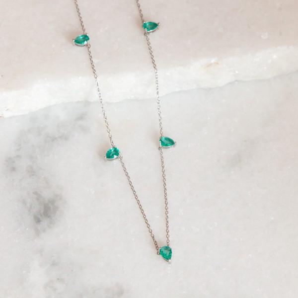 Colar de Prata 925 Gotinhas Jade Verde