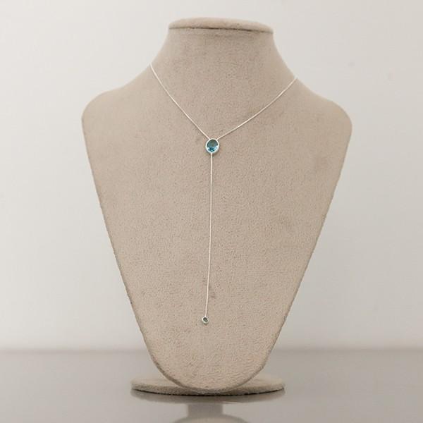 Colar de Prata 925 Gravatinha Água Marinha