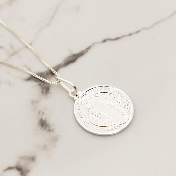 Colar de Prata 925 Medalha São Bento 20mm
