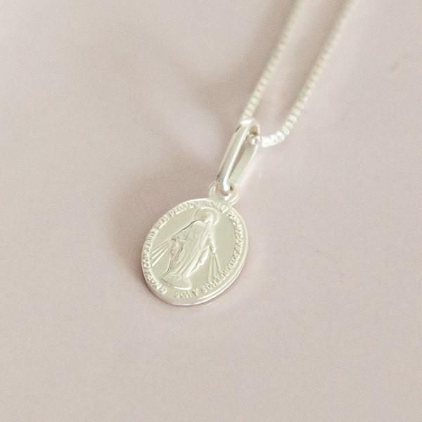 Colar de Prata 925 Mini Medalha Nossa Senhora das Graças