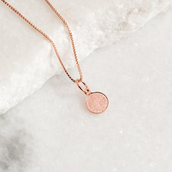 Colar de Prata 925 Mini Medalha São Bento Banho Ouro Rose