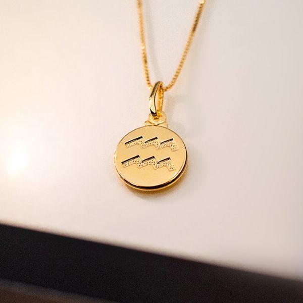 Colar de Prata 925 Signo Aquário Banho em Ouro 18K