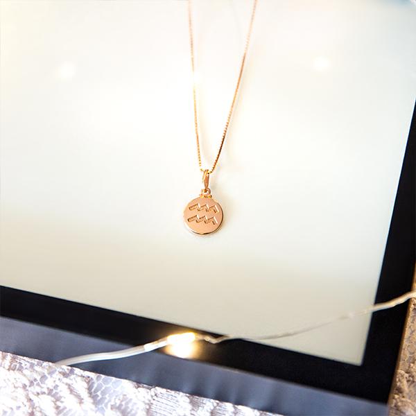 Colar de Prata 925 Signo Aquário Banho Ouro Rose