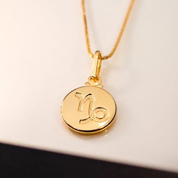 Colar de Prata 925 Signo Capricórnio Banho em Ouro 18K
