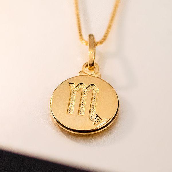 Colar de Prata 925 Signo Escorpião Banho em Ouro 18K