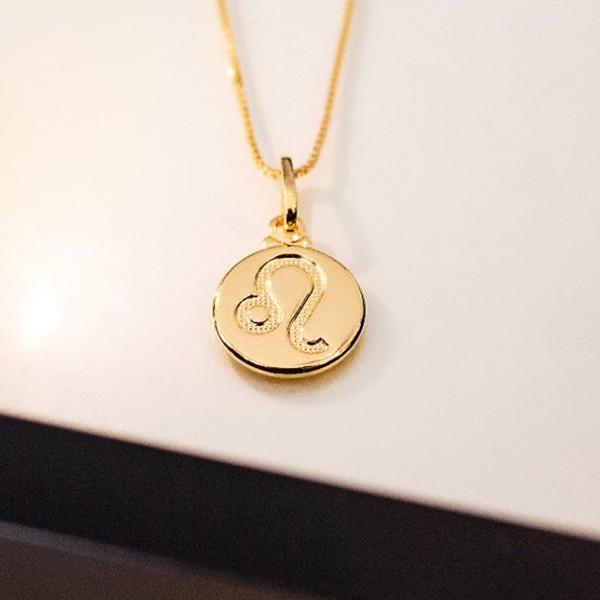 Colar de Prata 925 Signo Leão Banho em Ouro 18K