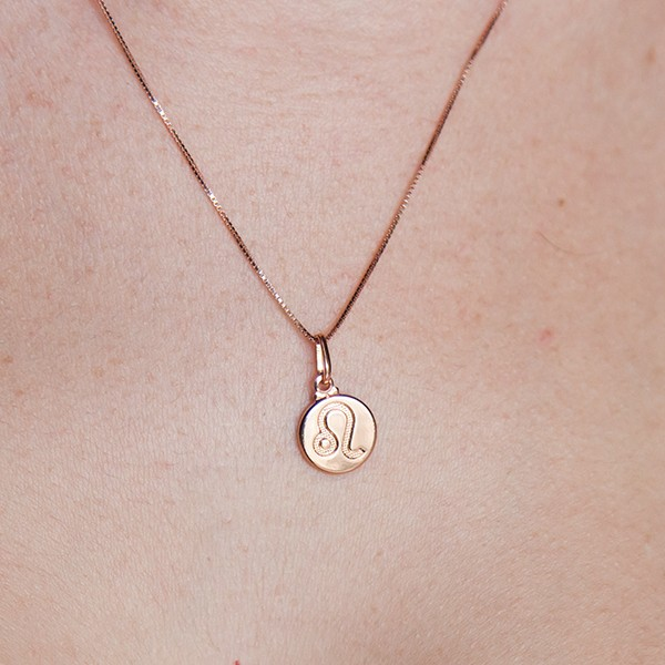 Colar de Prata 925 Signo Leão Banho em Ouro Rose