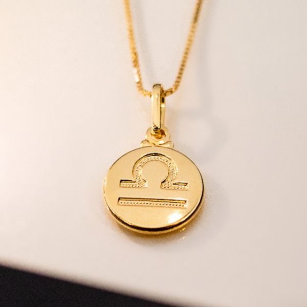 Colar de Prata 925 Signo Libra Banho em Ouro 18K