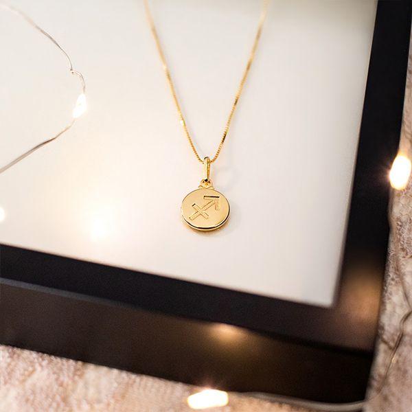 Colar de Prata 925 Signo Sagitário Banho em Ouro 18K