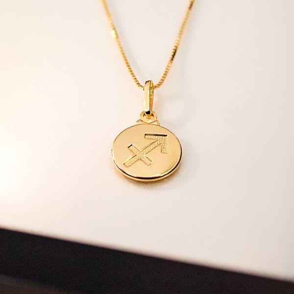 Colar de Prata 925 Signo Sagitário Banho Ouro 18K