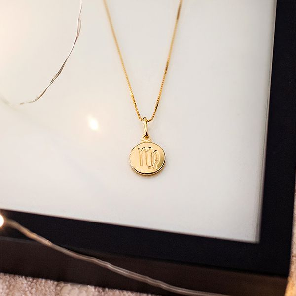 Colar de Prata 925 Signo Virgem Banho em Ouro 18K