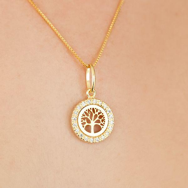 Colar de Prata 925 Árvore da Vida Cravejada Ouro 18K