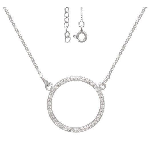 Colar de Prata 925 Círculo Cravejado de Zircônias