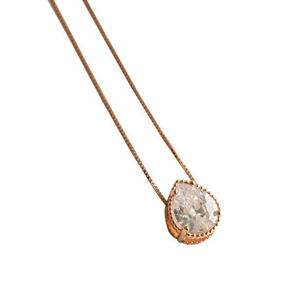 Colar de Prata Gota em Zircônia com Banho Ouro Rosê