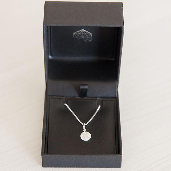Colar de Prata 925 Mini Medalha São Bento