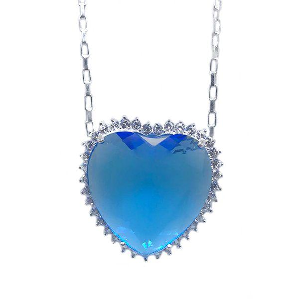 Colar de Prata 925 Coração do Oceano Titanic Azul