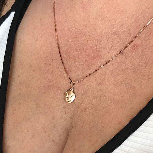 Colar de Prata 925 Signo Touro Banho em Ouro Rose