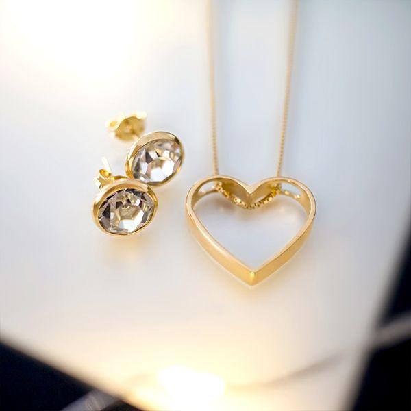 Conjunto de brinco e colar de Prata 925 Coração Ponto de Luz Banho Ouro 18K