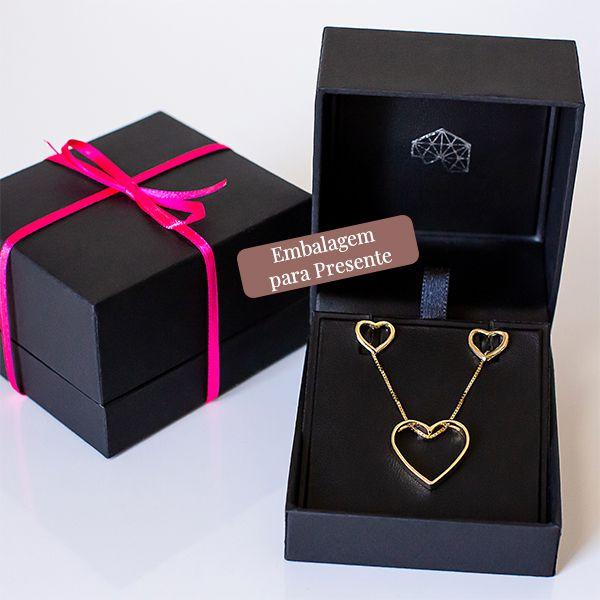 Conjunto de brinco e colar de Prata 925 Coração Vazado Banho Ouro 18K