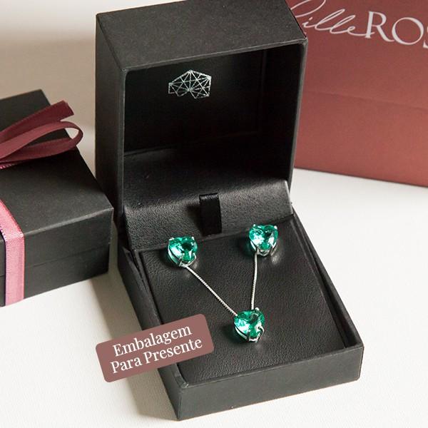 Conjunto de Prata 925 Coração Jade Verde