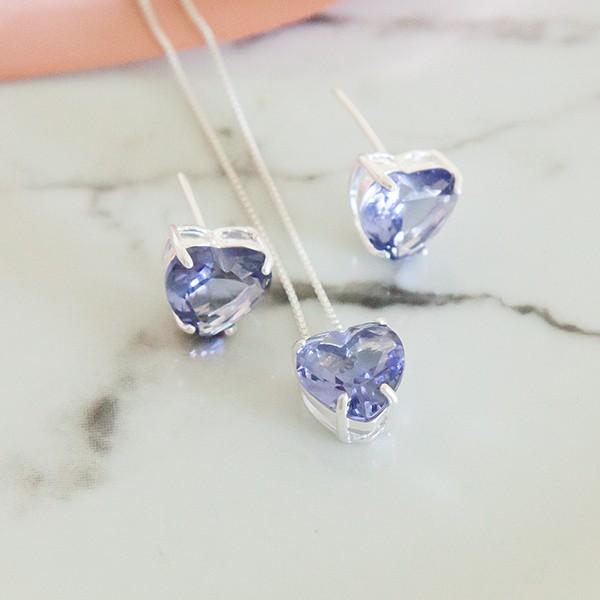 Conjunto de Prata 925 Coração Pequeno Lilás