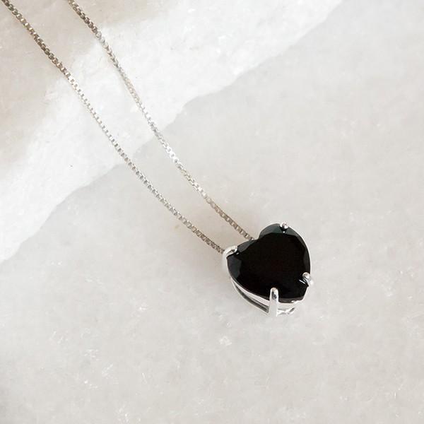 Conjunto de Prata 925 Coração Pequeno Ônix