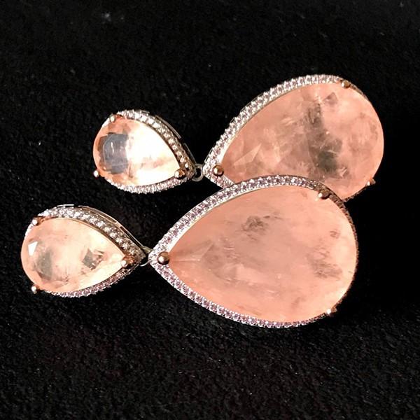 Conjunto de Prata 925 Gota Morganita