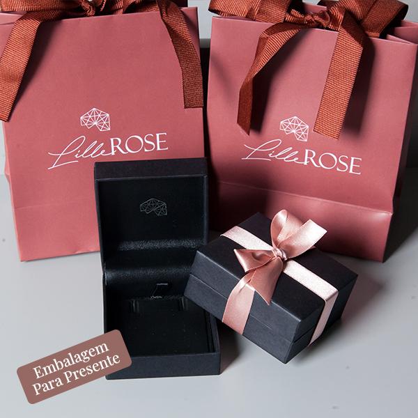 Conjunto de Prata 925 Ponto de Luz Banho Ouro Rose