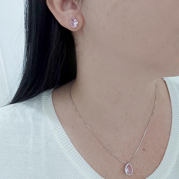 Conjunto Gota Quartzo Rosa Banho Ródio Branco