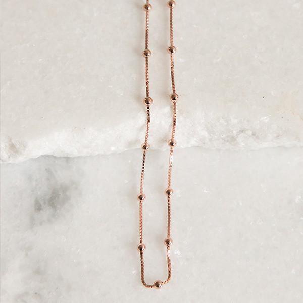 Corrente de Prata 925 Bolinhas 40cm Banho Ouro Rose