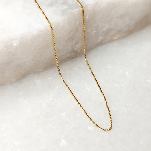Corrente Veneziana 55cm Banho Ouro 18K