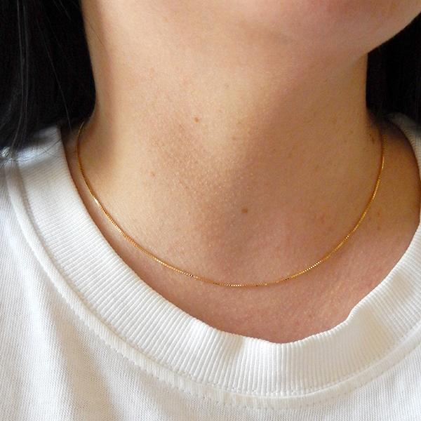 Corrente Veneziana de Prata 925 40cm Banho Ouro 18K