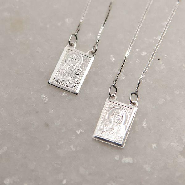 Escapulário de Prata 925 70cm Sagrado Coração de Jesus e Nossa Senhora do Carmo