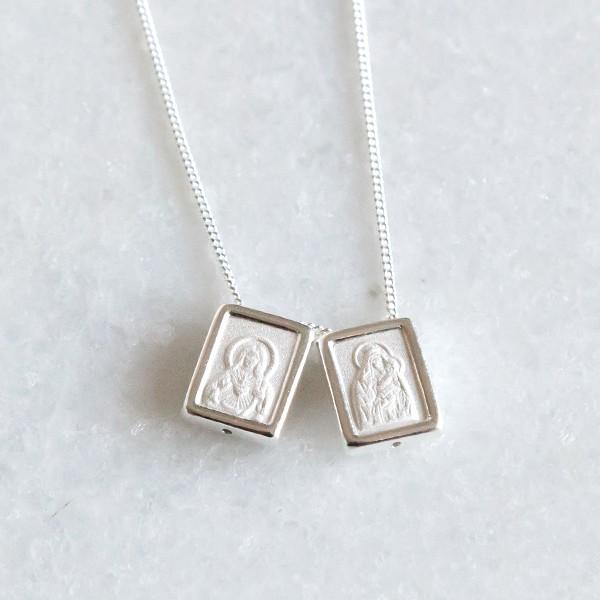 Escapulário de Prata 925 Madre Perola Sagrado Coração de Jesus e Nossa Senhora do Carmo