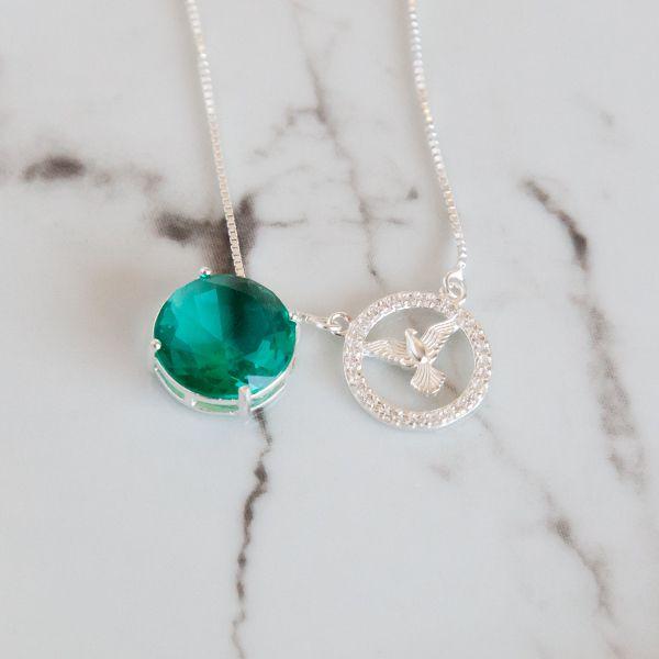 Escapulario de Prata 925 Jade Verde e Espírito Santo