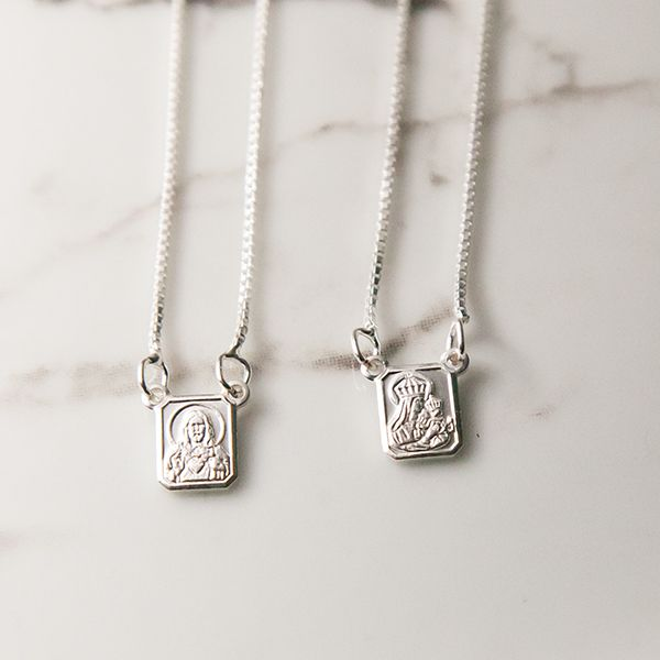 Escapulário de Prata 925 Mini Sagrado Coração de Jesus e Nossa Senhora do Carmo
