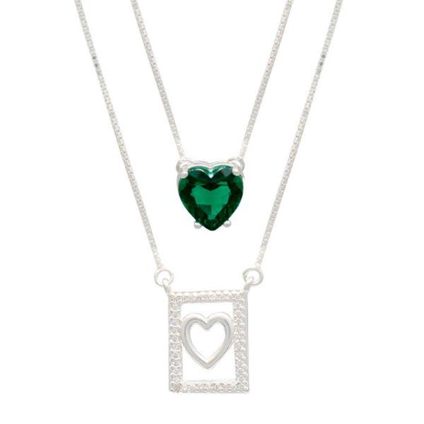 Escapulário de Prata Coração Vazado e Coração Verde Esmeralda